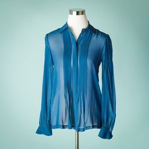 Club Monaco Small Blue Silk Sheer Long Sleeve Top